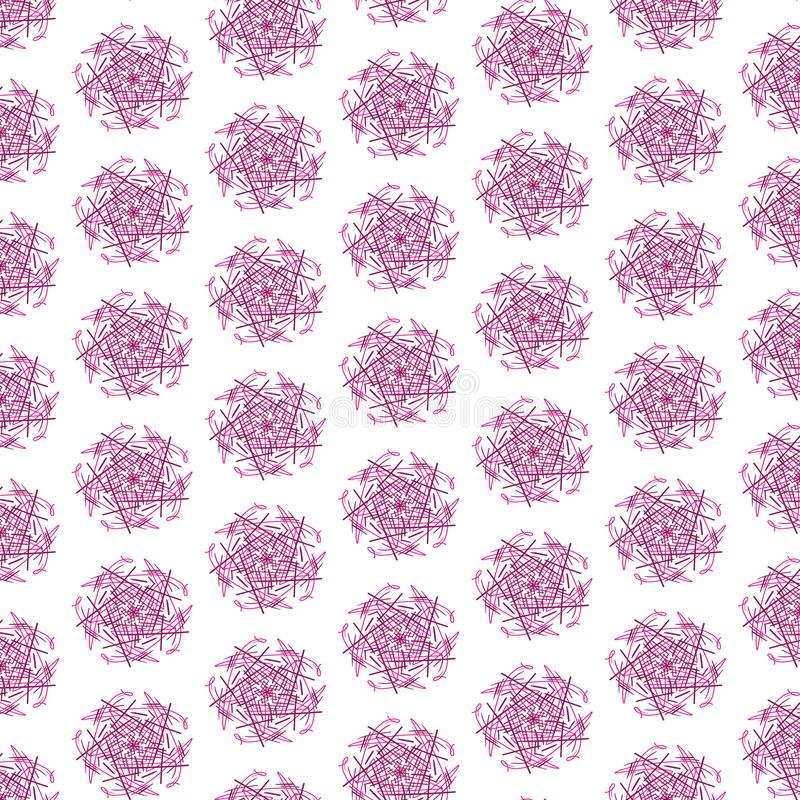 Seamless hand drawn Xmas snowflakes pink pattern isolated on white for holiday greeting cards template. Seamless hand drawn Xmas snowflakes pink pattern isolated royalty free illustration