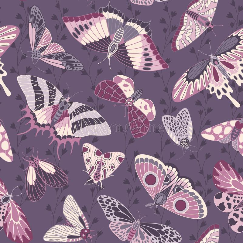Seamless hand-painted pattern with butterflies and flowers. Vector texture vector illustration
