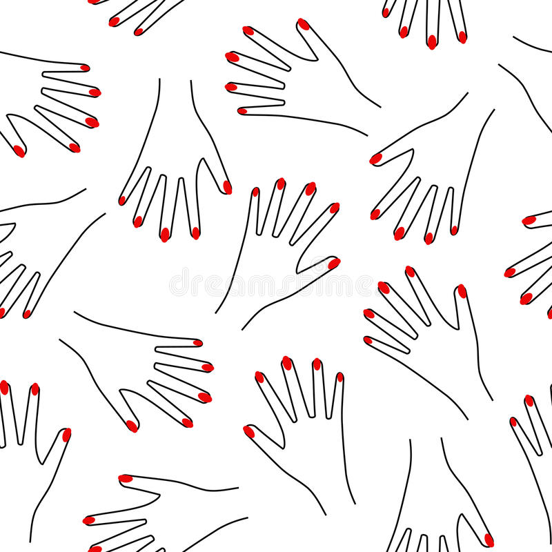 Seamless hand pattern on white background. Cute funny girlish illustration with red nails. Trendy fashion illustration royalty free illustration