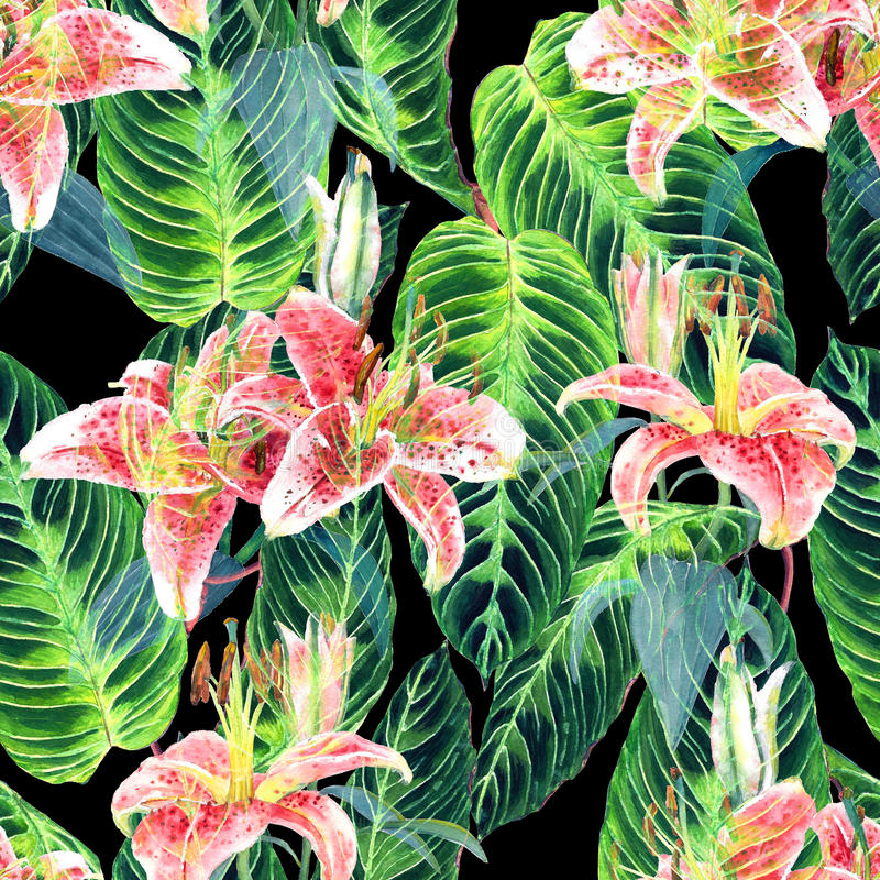Seamless handmade floral pattern. Seamless tropical floral pattern. Pink lilies and exotic calathea leaves on black background, blended effect. Hand painted vector illustration