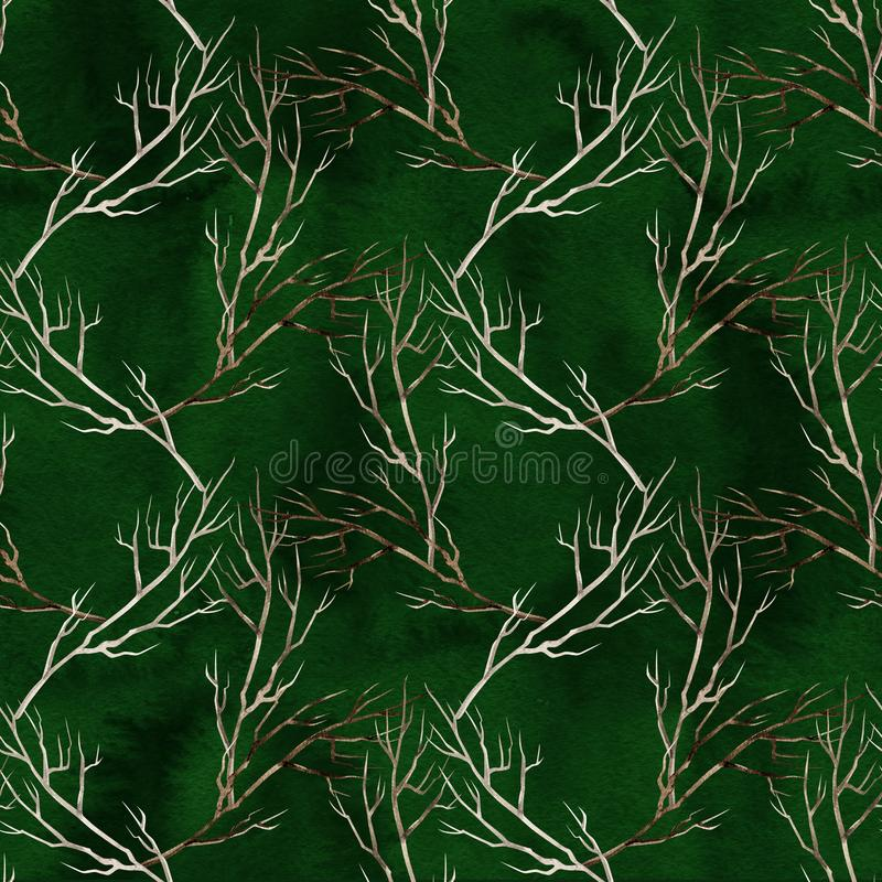 Seamless handmade watercolor pattern with twigs. Christmas pattern for gift wrap, stationary or decoration. stock illustration