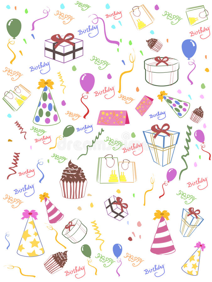 Download Seamless Happy Birthday Background Stock Vector - Illustration of balloon, celebrate: 22308414
