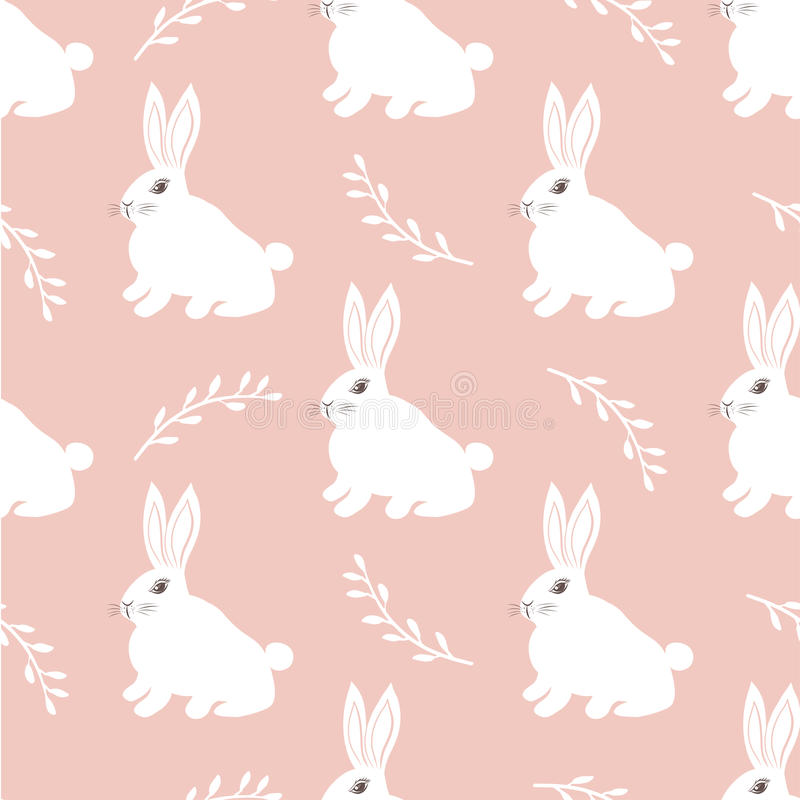 Seamless hare pattern. Cute little Bunny on a pink background. Cute rabbit design for fabric and decor royalty free illustration