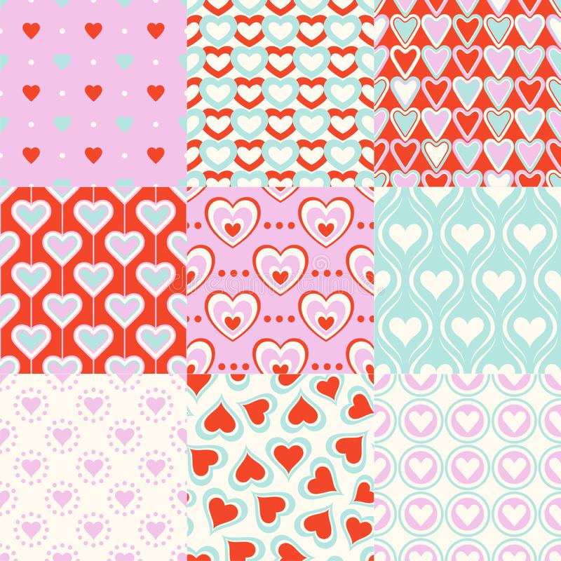 Seamless heart symbol pattern for wrapping paper, textile or wallpaper background. vector illustration