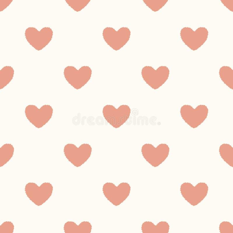 Seamless heart textured pattern vector illustration