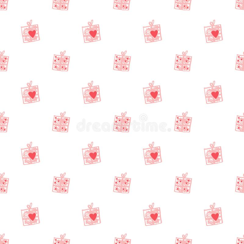 Seamless heart Valentine`s pattern stock illustration