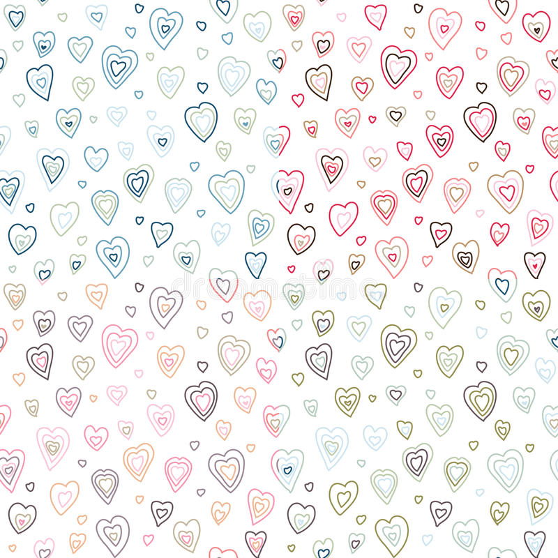 Seamless hearts fifties retro stroke design patter. N different colors vector illustration