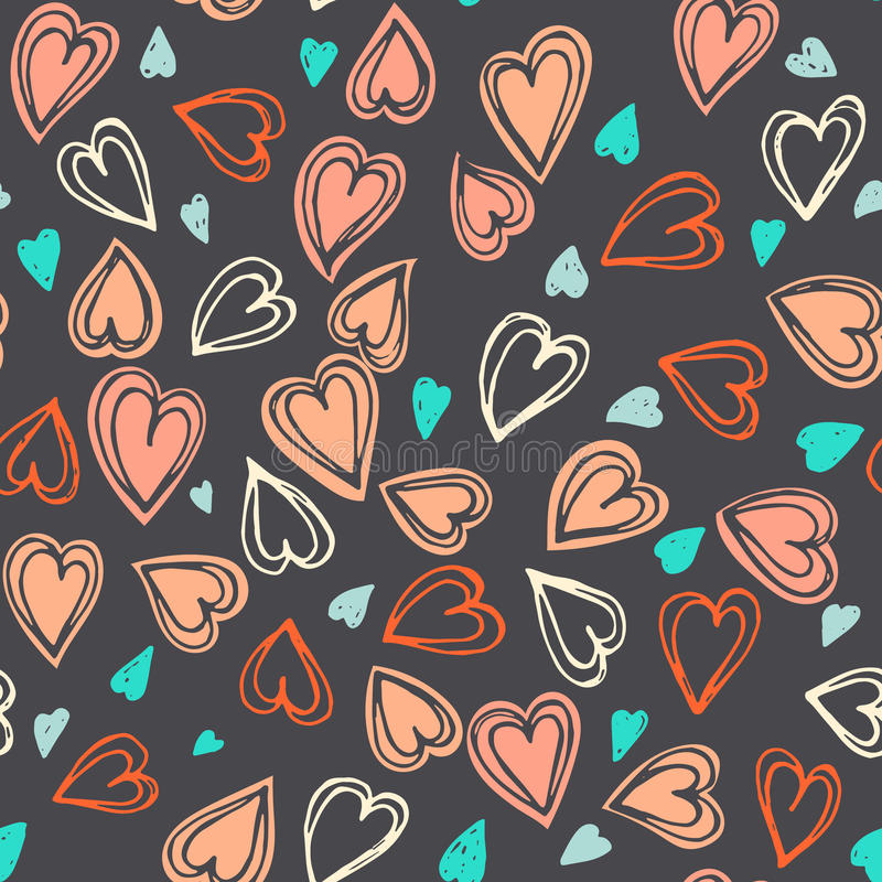 Seamless hearts pattern. Hand drawn colorful vector seamless background pattern with hearts. Bright backdrop for wrapping paper, greeting cards, posters vector illustration