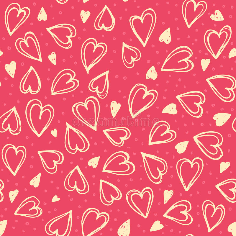 Seamless hearts pattern. Hand drawn romantic vector seamless background pattern with hearts. Bright backdrop for wrapping paper, greeting cards, posters stock illustration