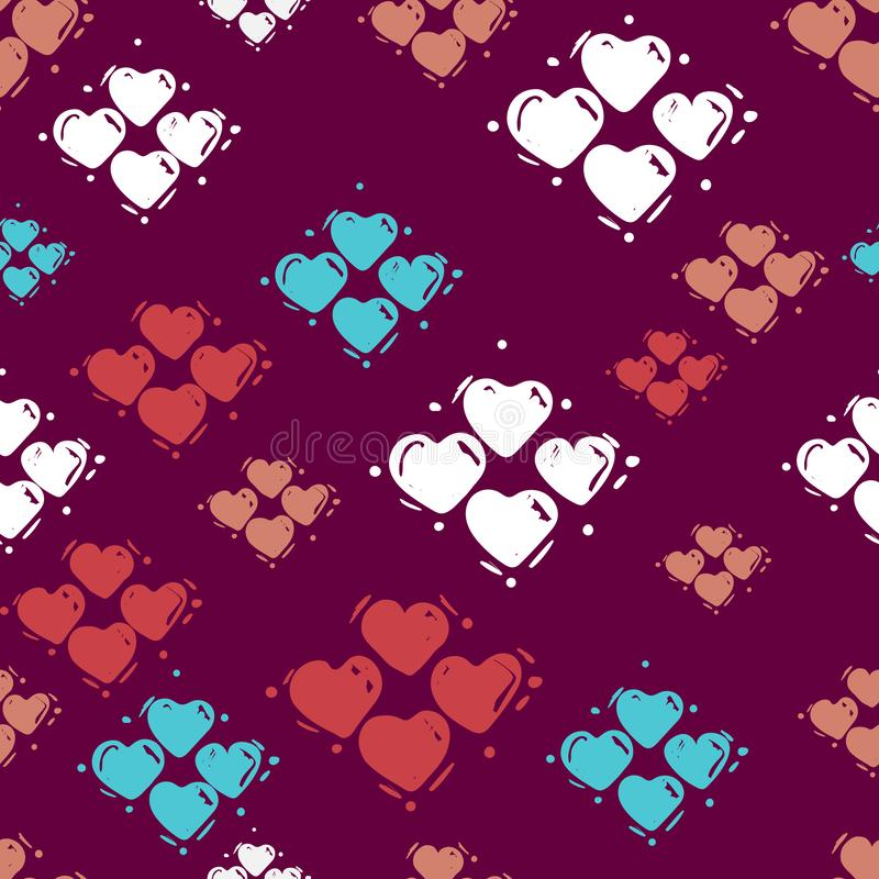 Seamless hearts pattern, hand drawn sketch, vector illustration. Romantic love background in doodle style. For textile print, royalty free illustration