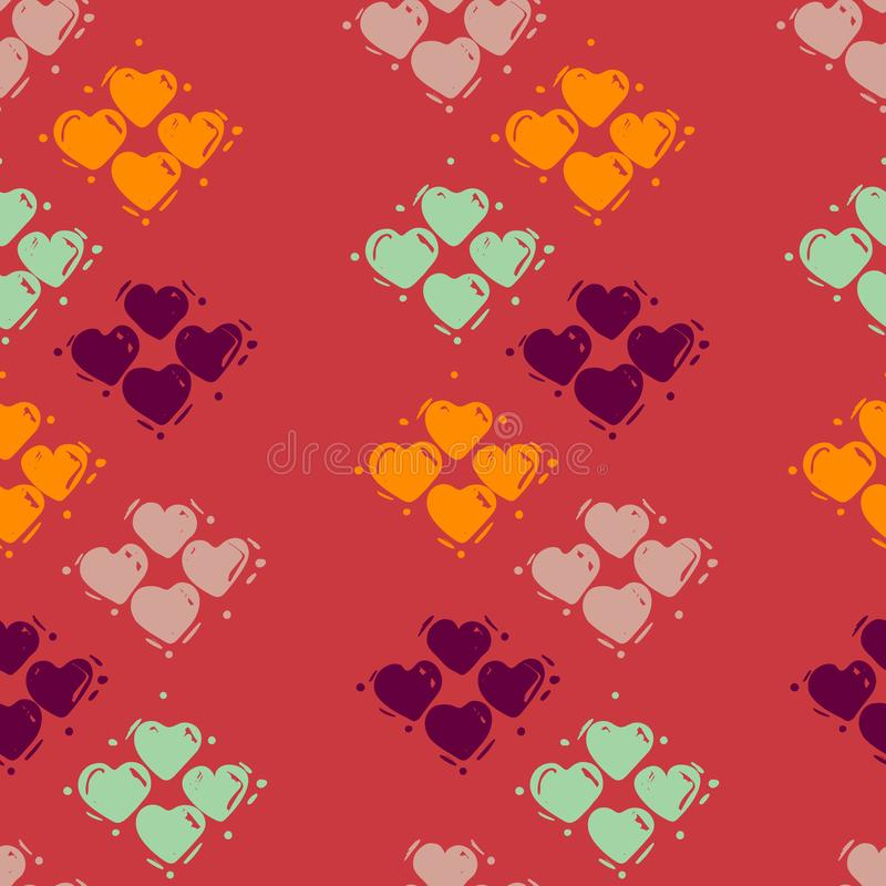 Seamless hearts pattern, hand drawn sketch, vector illustration. Romantic love background in doodle style. For textile print, vector illustration