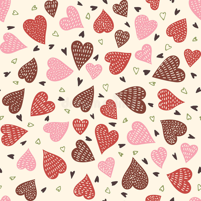 Seamless hearts pattern. Hand drawn vector seamless background pattern with hearts in pastel colors. Bright backdrop for wrapping paper, greeting cards, posters vector illustration