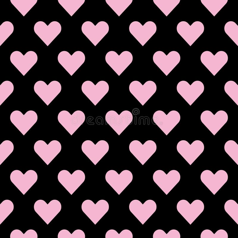 Seamless hearts pattern in pink over black. Valentine s day tile background royalty free illustration