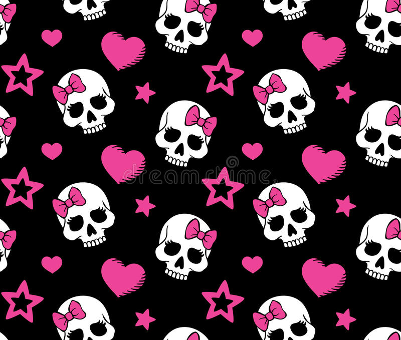 Seamless with hearts and skulls. Seamless with hearts, stars and skulls