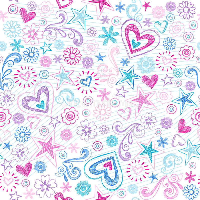 Free Seamless Hearts & Stars Sketchy Doodles Pattern Stock Images - 24593684
