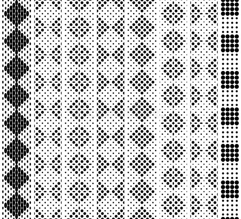Seamless in height, checkered monochrome lace pattern for border, tape, belt, strip, edging. Black on white. Vector set royalty free illustration