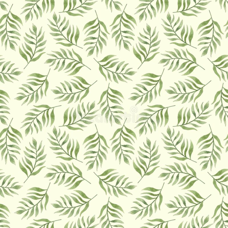 Seamless herbal pattern with leaves. Watercolor illustration royalty free illustration