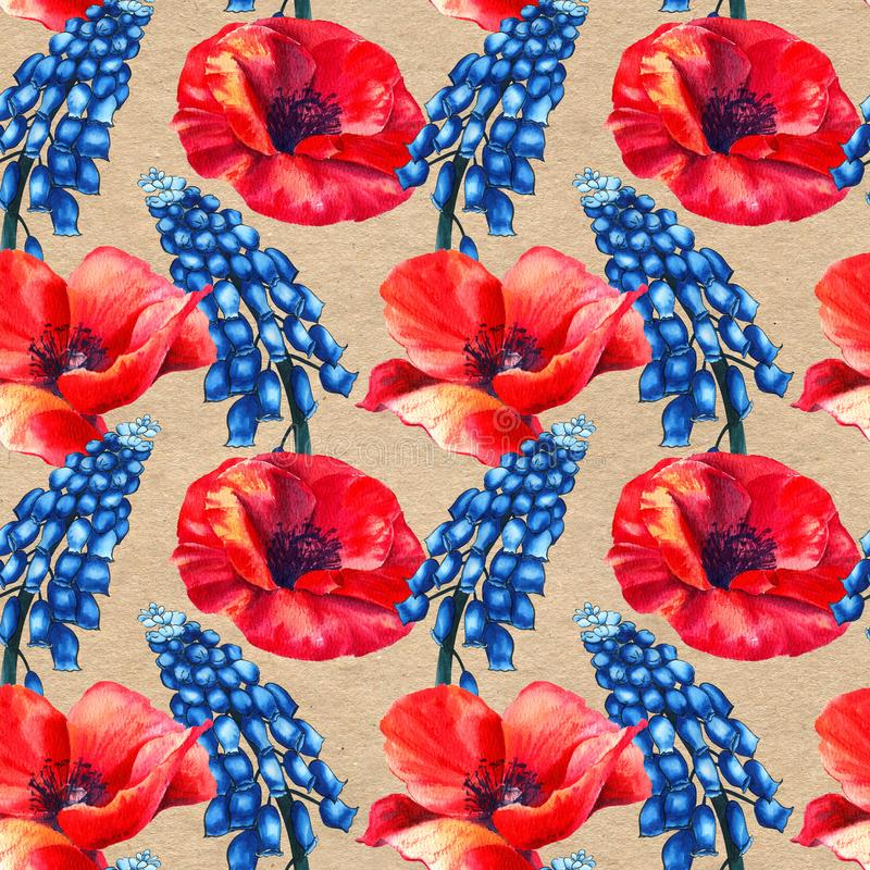 Seamless herbal pattern with watercolor blue field flowers of muscari and poppies on paper textured background. royalty free illustration
