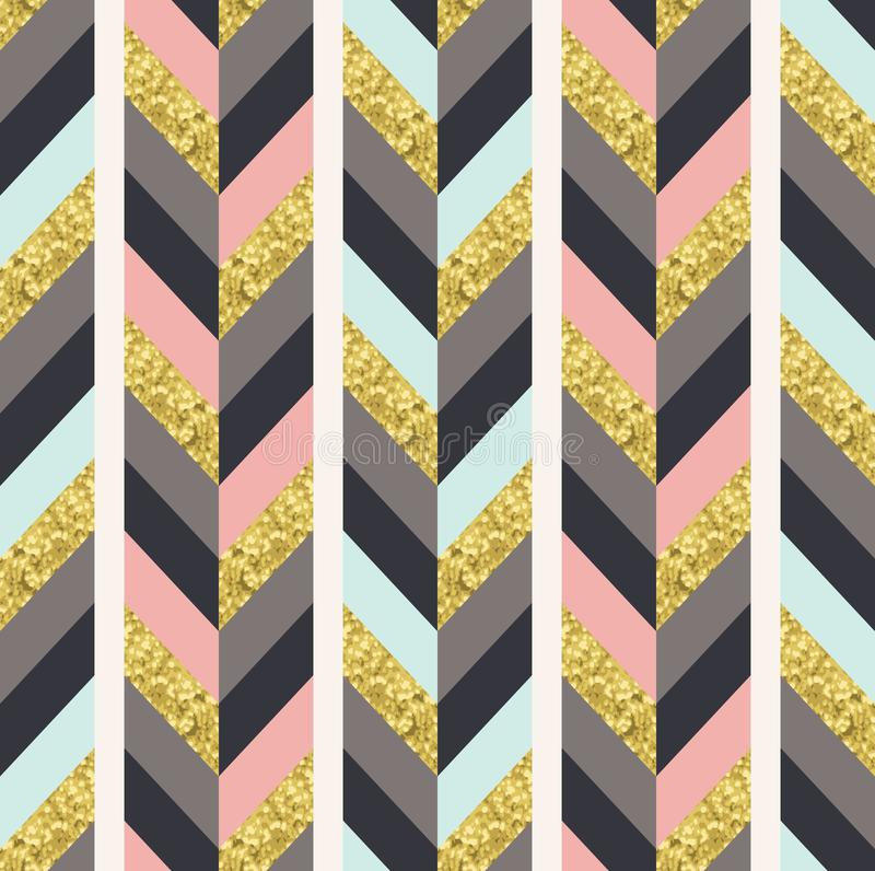 Seamless herringbone pattern with glittery effect. Seamless herringbone tile pattern with glittery effect. Modern colorful print in vector format. Perfect for vector illustration