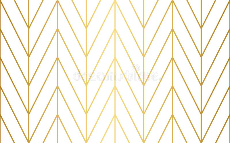 Seamless herringbone vector pattern with gold lines. royalty free illustration