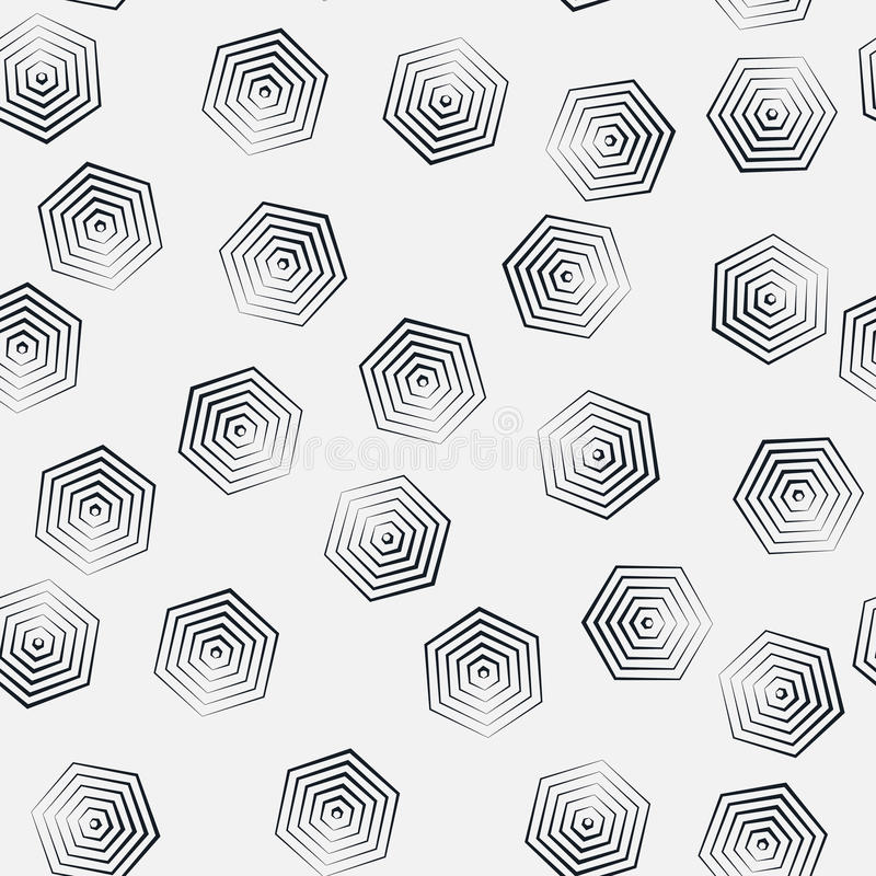 Seamless hexagon monochrome pattern, repeating geometric texture, linear structure background royalty free illustration