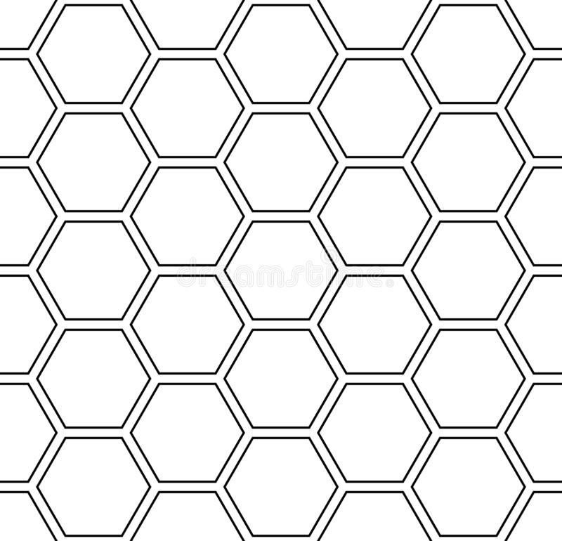 Seamless hexagons pattern. White geometric background. royalty free illustration