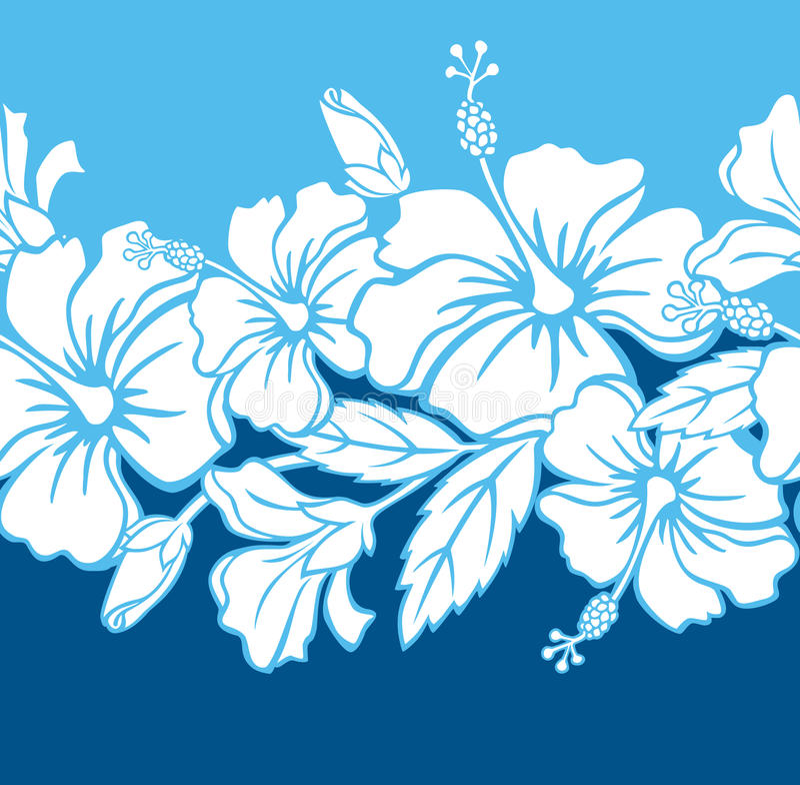 Seamless Hibiscus Hybrid Border/Pattern vector illustration