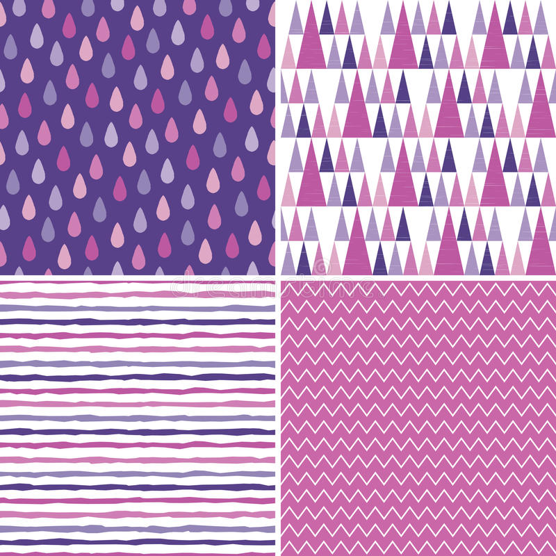 Seamless hipster background patterns purple magenta pink stock illustration