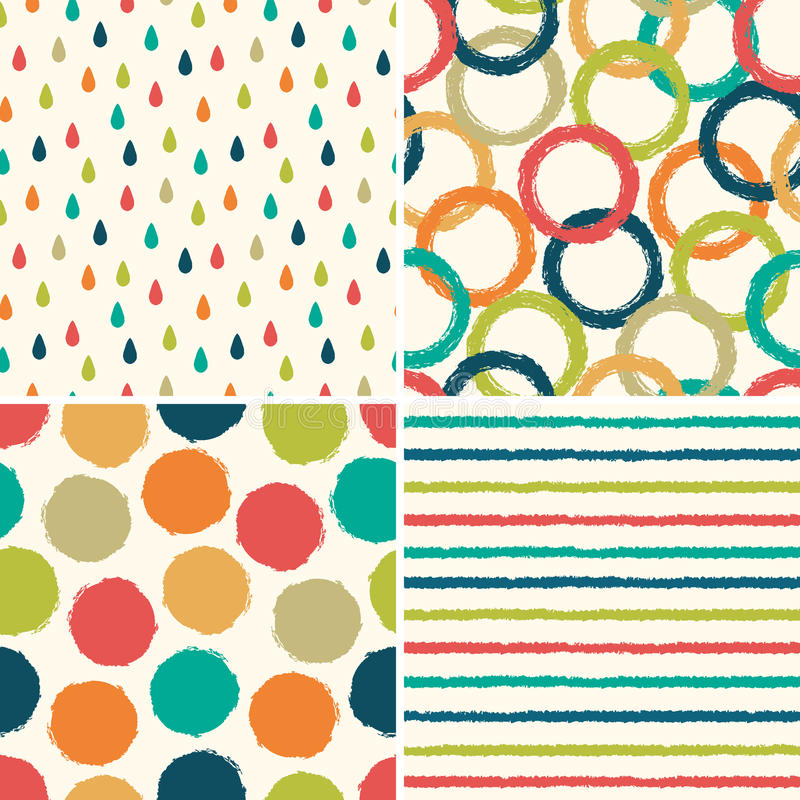 Seamless hipster background patterns in retro colors royalty free illustration