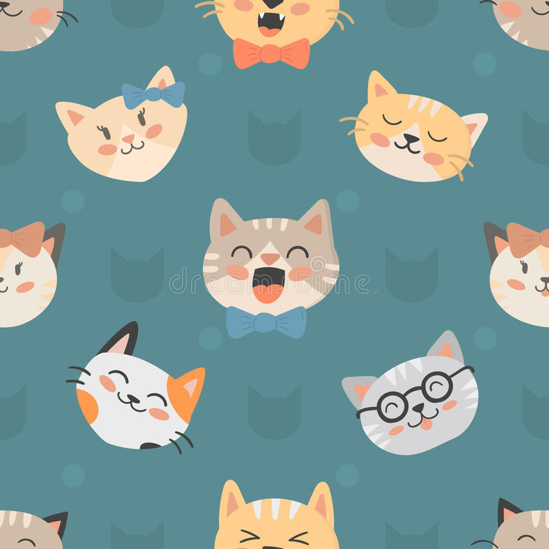 Download Seamless Hipster Cats Pattern Vector Illustration Stock