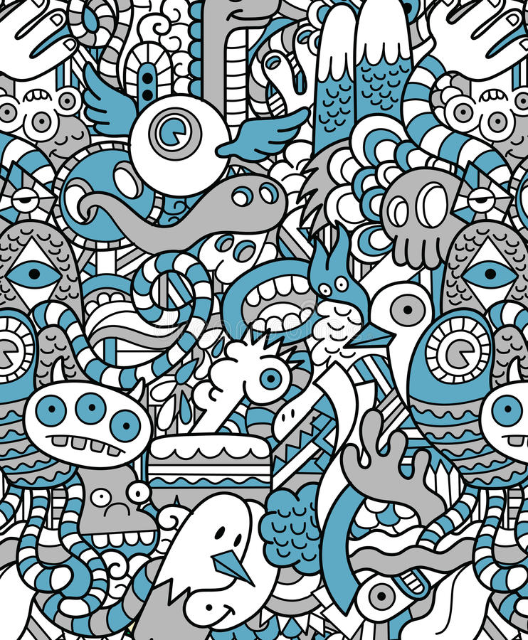 seamless hipster doodle monster pattern stock vector