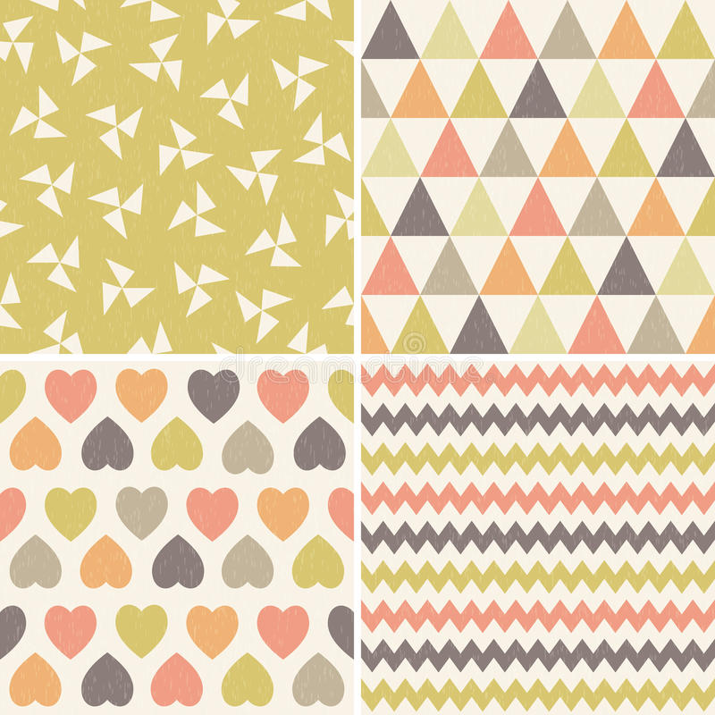 Seamless hipster geometric patterns coral brown yellow vector illustration