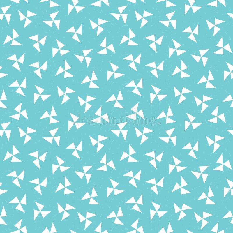 Seamless hipster geometric pinwheel pattern aqua blue vector illustration