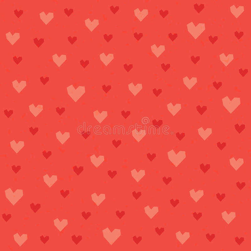 Seamless hipster hearts pattern in red and orange royalty free illustration