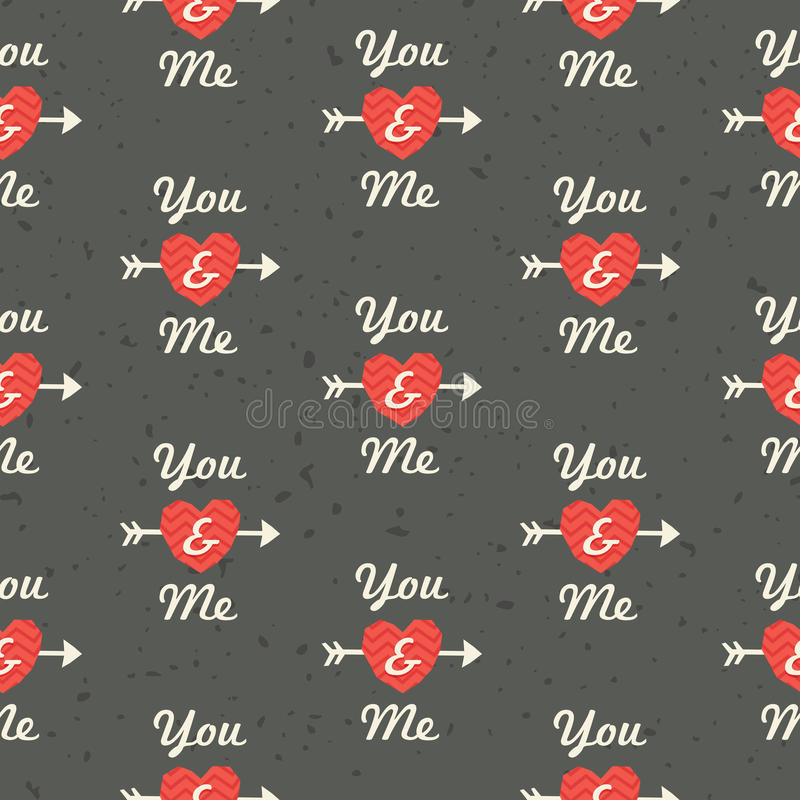 Seamless hipster love pattern You and Me in red an stock illustration