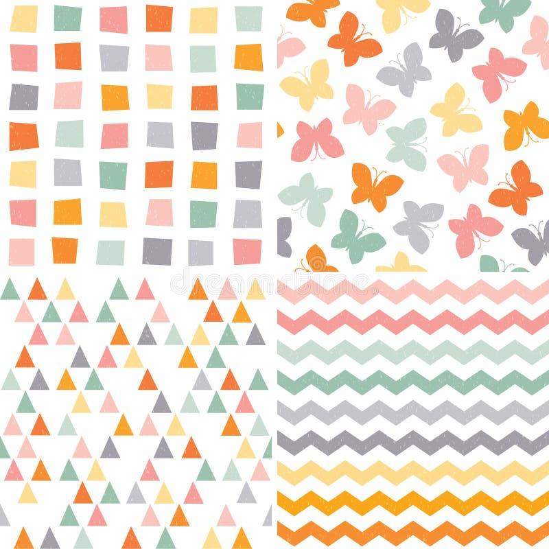 Seamless hipster pattern set orange pink gray stock illustration