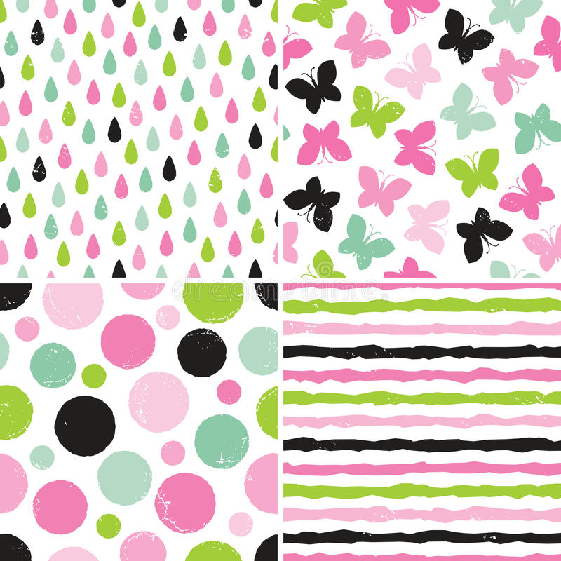 Seamless hipster patterns for girls in pink and green vector illustration