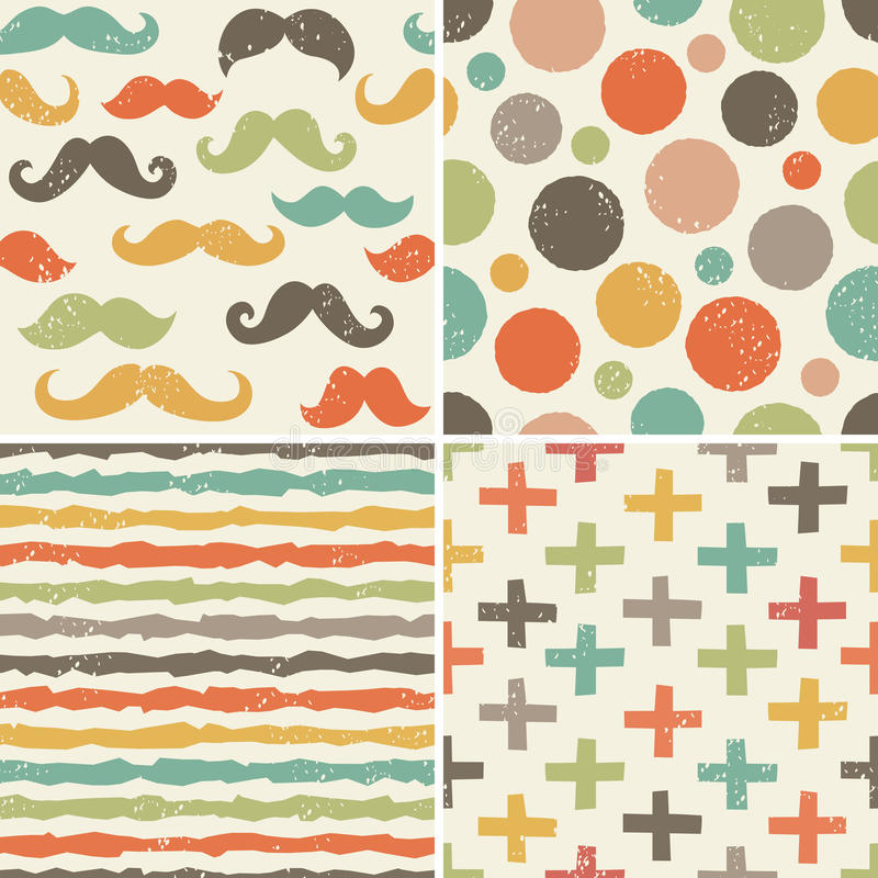 Seamless hipster patterns in retro colors stock illustration