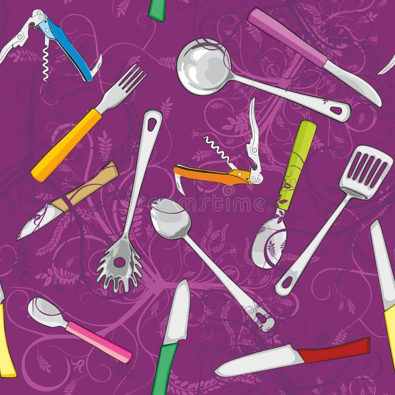 seamless hjälpmedel för kök royaltyfri illustrationer