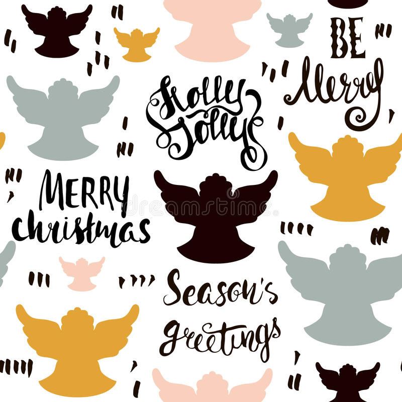 Seamless Holiday hand drawn pattern with christmas angels and hand written lettering. Vector Illustration. Seamless Holiday hand drawn pattern with christmas stock illustration