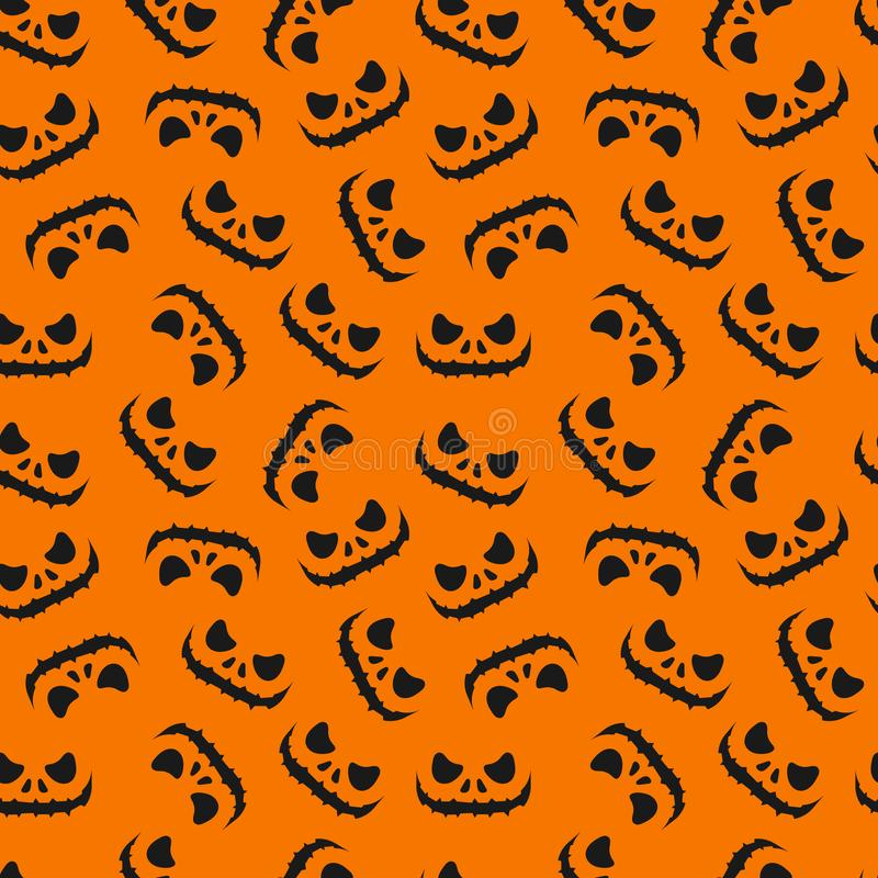 Seamless holiday pattern for Halloween. Orange background and black outlines of a scary face with teeth. royalty free stock image