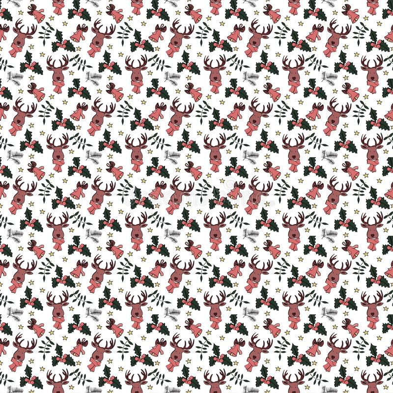 Seamless holiday pattern in vector with signs and symbols of a new year stock illustration