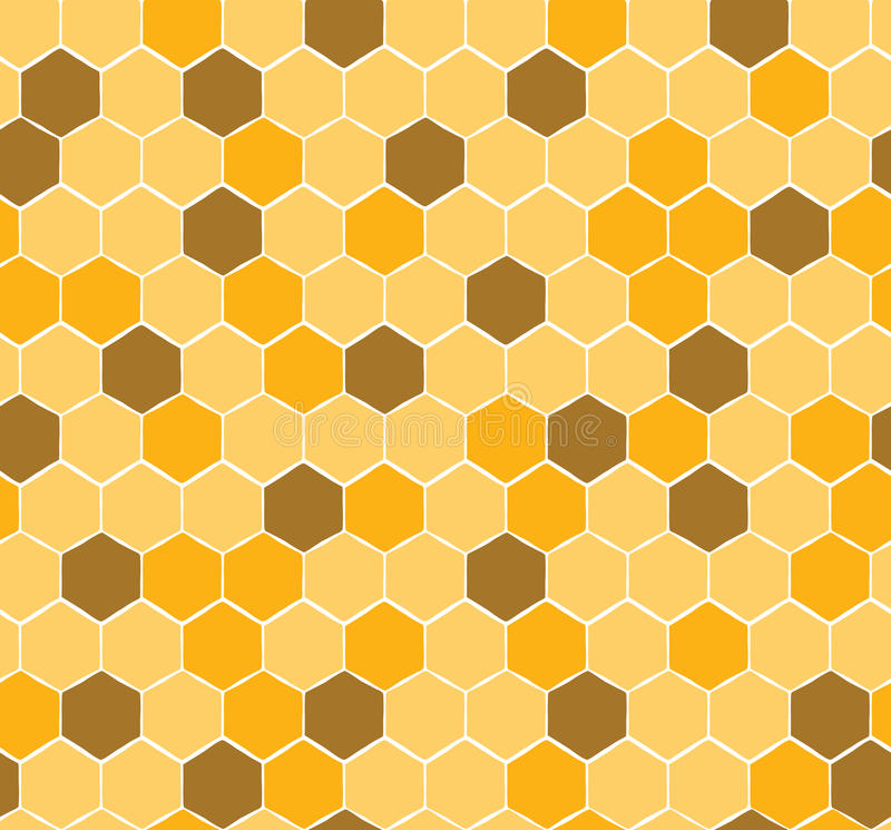 Seamless Honeycomb Pattern with yellow and gold honey royalty free illustration