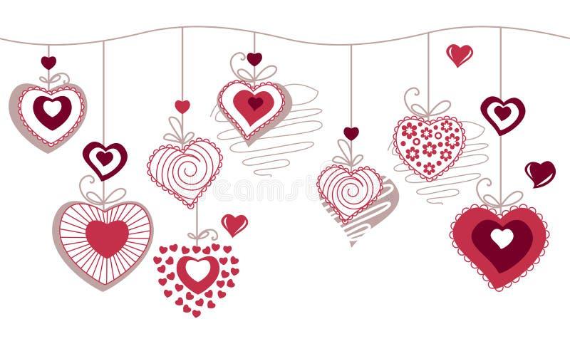 Seamless horizonatal pattern with contour hearts stock illustration