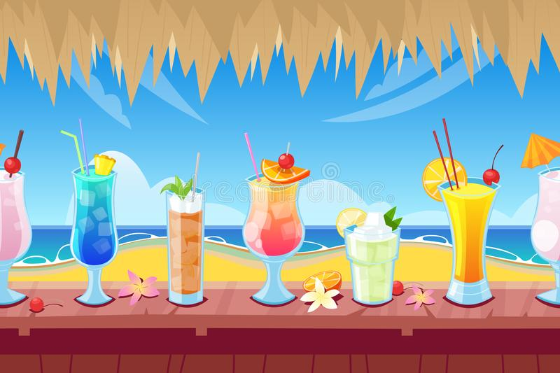 Seamless horizontal background with wooden bar counter and alcohol cocktails and beverages on desk. Vector illustration. Seamless horizontal background with vector illustration