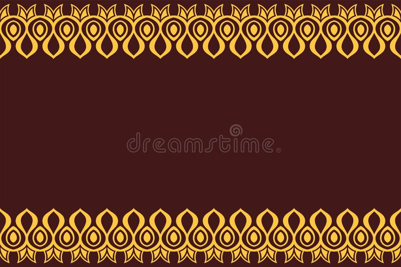 Seamless horizontal border pattern with yellow antique geometric symbols isolated on brown background royalty free illustration