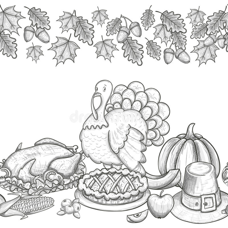 Download Seamless Horizontal Border With Thanksgiving Icons Stock Vector