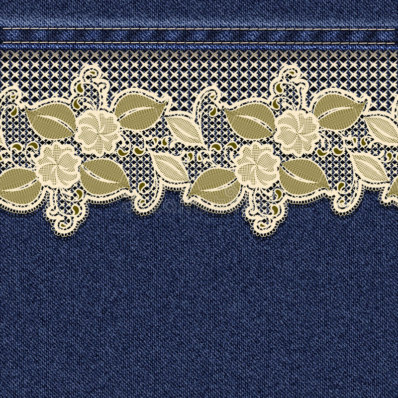 Seamless horizontal denim background with lace floral tape. stock illustration