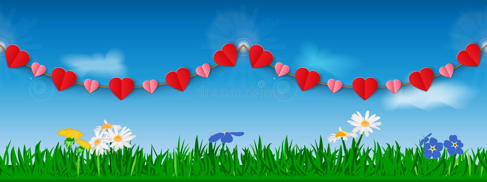 Seamless horizontal garland of red and pink paper hearts against the background of grass, flowers and sky. Template for site heade vector illustration
