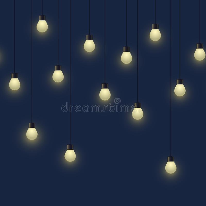 Seamless horizontal glowing bulb garland, decorative light garland on dark background, footer and banner lamps, vector. Illustration, eps 10 royalty free illustration